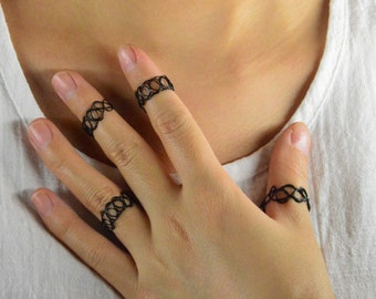 set of 4 midi rings 90s Black Tattoo Choker Ring