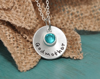 Godmother hand stamped necklace, godmother, personalized godmother necklace
