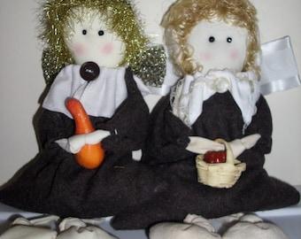 Pilgrim Couple Hand-Made Shelf-Sitter angels