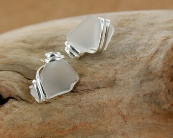 White Sea Glass Earring