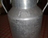 RARE! Container or large farm aluminum, English vintage Milk can antik milk jug