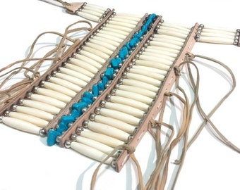 Handmade Native Traditional Buffalo Bone Hairpipe Tribal Breastplate
