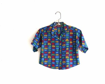 vintage boys shirt . crayon print shirt . size 7 boys surfer shirt . vintage boys skater shirt . blue shirt . saved by the bell