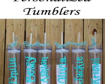 Personalized Bridesmaid Tumblers Glass Set of 11 Personalized Tumbler, Bridesmaid Gift, Bachelorette Party, Bridesmaid Glass