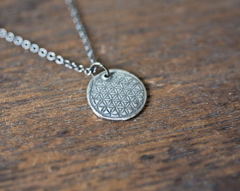 Flower of Life Necklace - Triangle Flower Circle Necklace Ornate Floral Medallion Pendant Beautiful Wife, Mother, Sister, Flower Patterned