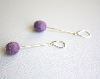 Felted Egg Earrings - Light Purple with Gray on Headpin