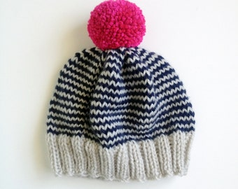 SALE The Stripe-A-Thon Hat in Platinum, Navy, Raspberry - Made to Order
