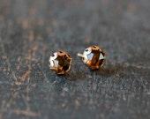 Rose Cut Smoky Quartz Stud Earrings, Quartz Studs, Smoky Quartz Earrings, 14k Gold Filled Post, Scalloped Setting, Elegant Gemstone Jewelry