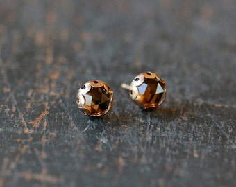 Rose Cut Smoky Quartz Stud Earrings, Quartz Studs, Smoky Quartz Earrings, 14k Gold Filled Post, Scalloped Setting, Elegant Gemstone Jewelry