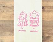 Sweet Pink Cupcake Tea Towel