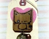 OMANJU NEKO Sweet Bun Kitty Winking pin brooch