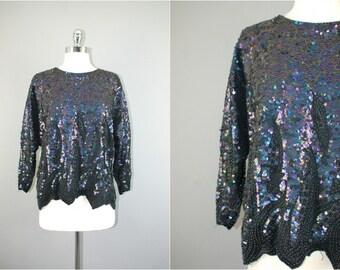 Vintage 80s Black and purple sequins / beads silk blouse Deco trophy top  M