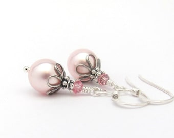 Pink Pearl Earrings, Spring Wedding Earrings, Swarovski Crystal, Pale Pink Pearls, Bridesmaid Earrings, Sterling Silver, Wedding Jewelry