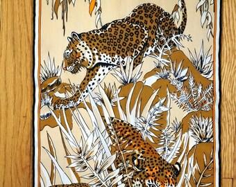 Vintage Scarf Burmel Animal Print Leopard Print Cheetah Hand Rolled 60s Women Accessories Vintage Scarves brown khaki tan cream orange black