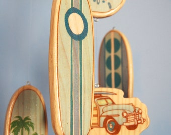 Baby Crib Mobile - Baby Mobile - Surf or Beach Baby Nursery - Woody Car and Surf Boards (Baby Blues)