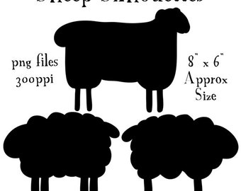 Sheep Silhouettes, Prim Sheep Clipart, Primitive Style Sheep Silhouettes, Silhouettes, Animal Silhouettes, PNG Graphics, Sheep Clip Art