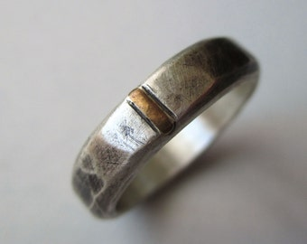 Ready to Ship! Sterling Silver and Gold Band - Every Day Ring or Wedding Band