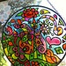 12 inch Psychedelic Mandala Suncatcher in Pink Orange Yellow Green  - Faux Stained Glass - Hand Painted