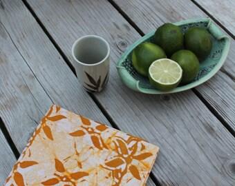 saffron batik tea towel. pure linen