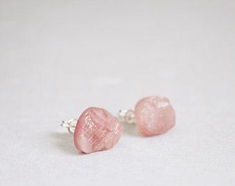 Pink rough RUBY stud earrings, raw gemstone, sterling silver