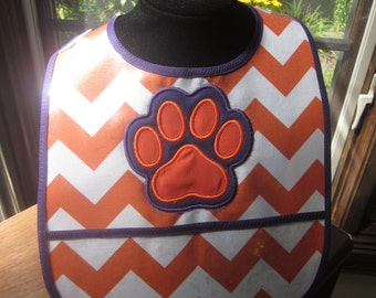 WATERPROOF WIPEABLE Baby to Toddler Wipeable Plastic Coated Bib Clemson Tigers