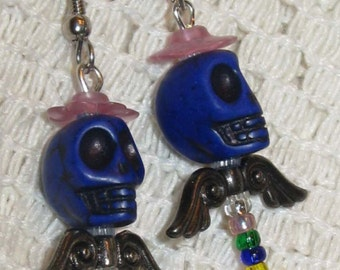 Skull Earrings, Papa Gay-Day, Wearable art for your ears FREE SHIPPING