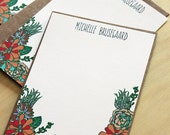 Set of 10 personalized flat notes- Succulents