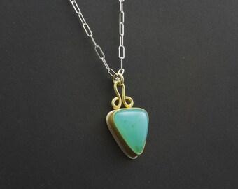 Blue Peruvian Opal Cabochon Pendant Necklace - Bezel Set Triangle Shape - 22 Karat Gold and Silver - Azure Blue Color - Natural Gemstone