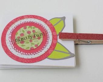 PHOTO CARD / Mini Accordian Scrapbook / Family Fun Theme with Hanging Clip