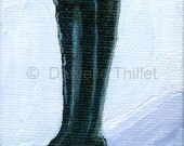Black Doll Boot - OOAK Original Miniature Acrylic Painting