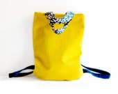 Yellow backpack tote bag denim straps vintage floral fabric handles orange lining versatile purse memake handmade