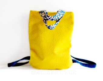 Yellow backpack tote bag denim straps vintage floral fabric handles orange lining versatile purse memake handmade