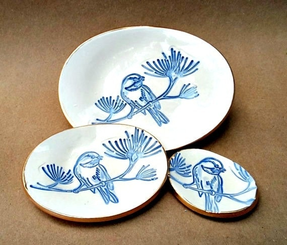 Ceramic Nesting Bird Trinket Dishes