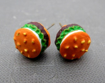 Juicy Hamburger Stud Earrings // Sesame Buns // Beef Patty // Fresh Lettuce // Brass Posts // Gift under 15