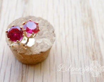 pink punch - 5mm pink ruby studs. gemstone earrings. hot pink. silver or gold studs