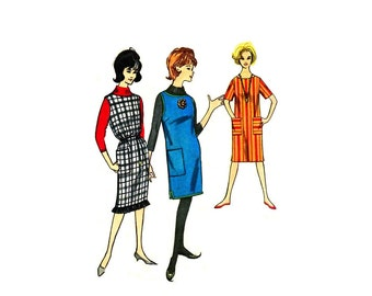 1960s Straight Dress Jumper Tunic Top Fringe Trim Simplicity 4251 Vintage Sewing Pattern Junior Miss Size 13 Bust 33