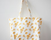 SALE Organic Cotton Canvas Market Tote - Golden Squash Blossoms