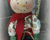 """Standing Snowman 10'"""" tall  Hand embroidered face Great Winter Decor Hostess Gift"""
