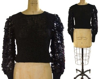 Paillette Sleeve Sweater in Jet Black / Sequin Sweater