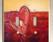 Double Toggle Light Switch Plate - One Red Heart on Red and Yellow Background