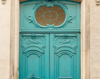 "Paris Door, Paris Photography, Architecture Art Print, Turquoise Blue Wall Decor, Fine Art Photography, Blue Door ""First Impressions"""