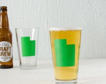 UTAH pint glass GREEN Screen Printed single beer glasses