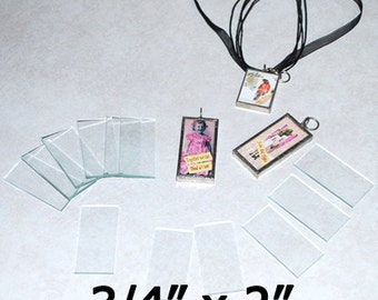 30 pack - 3/4 x 2 Inch Rectangles - Clear Pendant Glass for Collage Altered Art Soldered Jewelry.