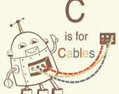 Robot Alphabet Print - C is for Cables