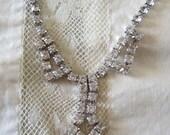 Vintage Rhinestone Necklace Deco Style Drop Pendant