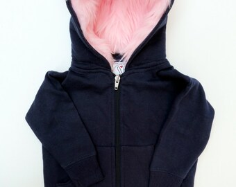 Toddler Monster Hoodie - Size 6T - Navy blue with pink - horned sweatshirt, custom jacket