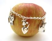 Puppy Love Charm Bracelet - Sterling Silver Dog Bracelet