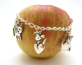 Puppy Love Charm Bracelet - Sterling Silver Dog Bracelet