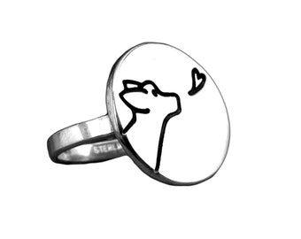 Dog Kiss Ring - Sterling Silver Dog Ring Custom Made in Your Size