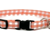 Cute Cat Collar - Orange Gingham - Breakaway Safety Cute Fancy Cat Kitten Collar